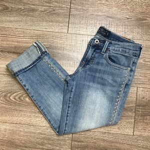 Lucky Brand Sweet Crop Jeans w/ Embroidery Detail